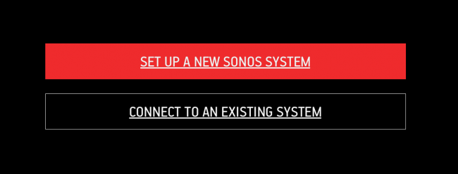 Sonos setup initiation screen.