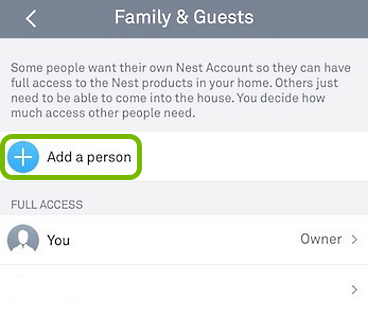 Add a person option highlighted in Nest app.