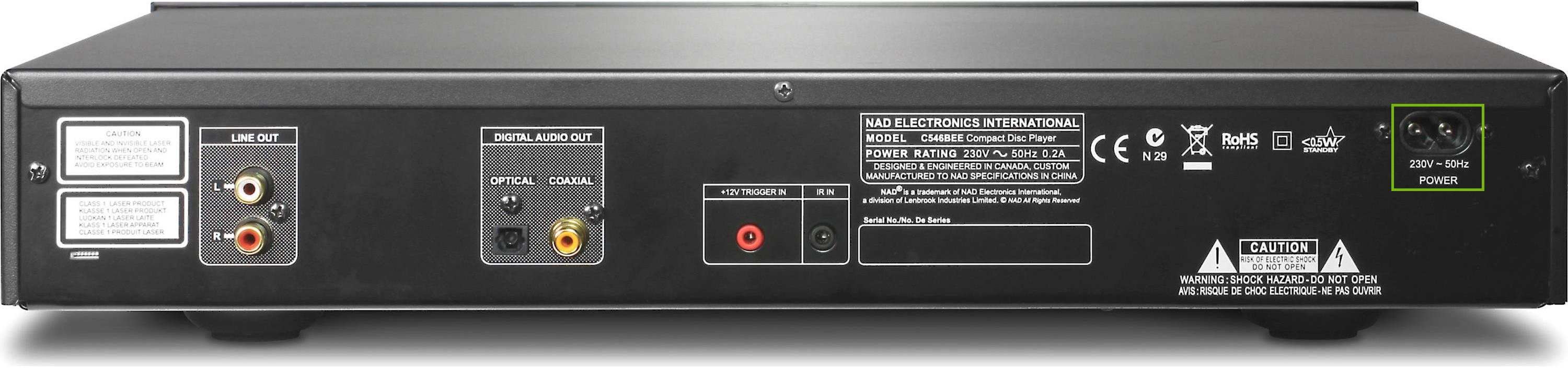 back of cd player power connection highlighted