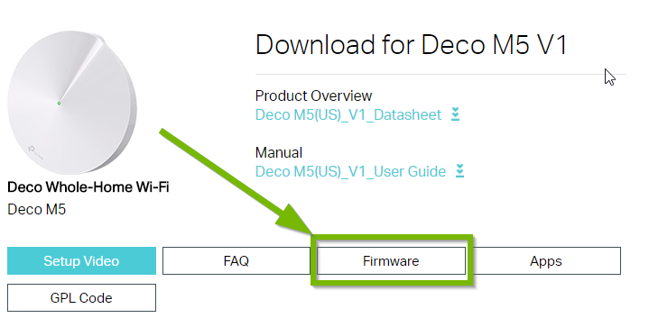 Download page for product with firmware highlighted