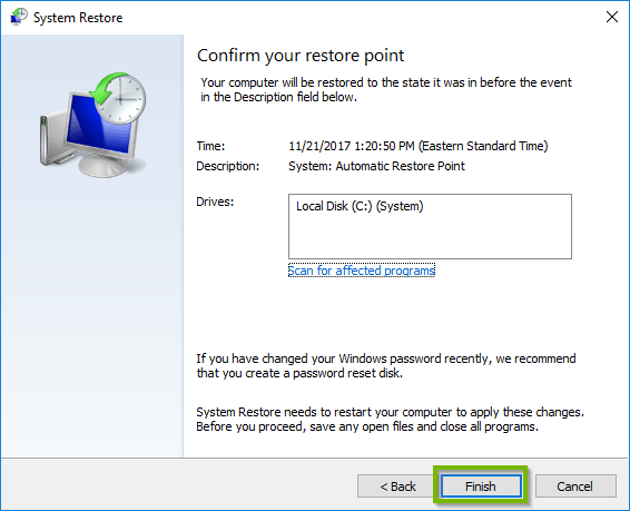 Windows 10 system restore