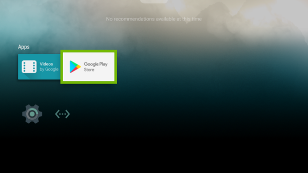 Android TV Menu with Google Play Store highlighted.