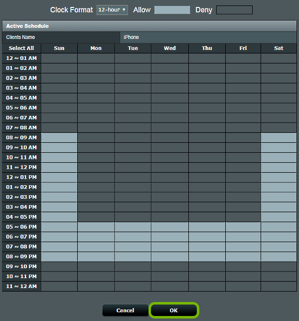 Schedule table showing allowed time slots for internet access in Parental Controls configuration of ASUS router web interface. OK button highlighted at the bottom.