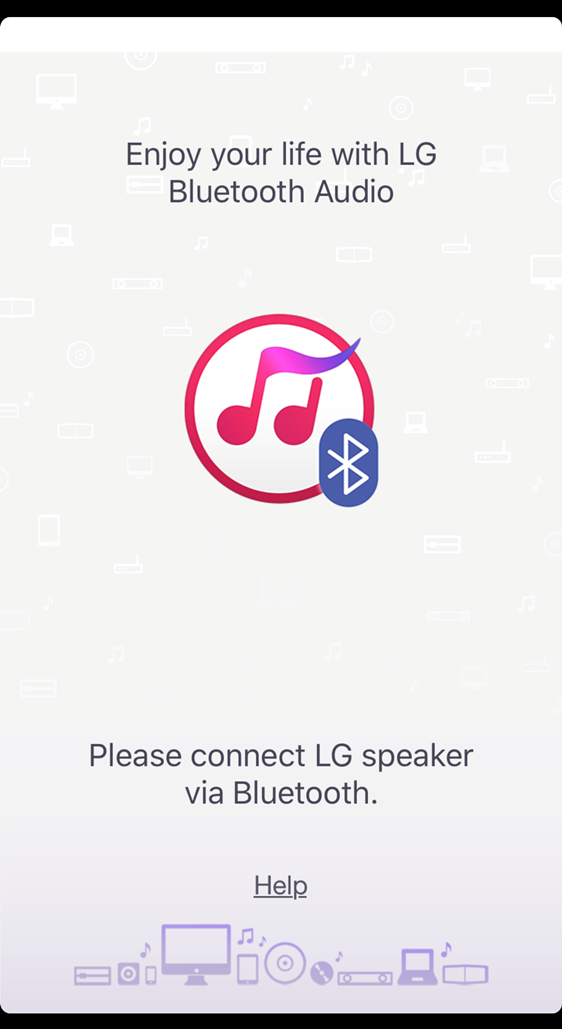screenshot of the first screen of the music flow bluetooth app