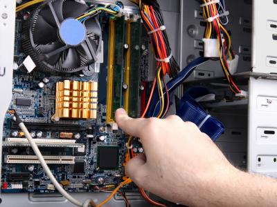 Computer internals being upgraded.