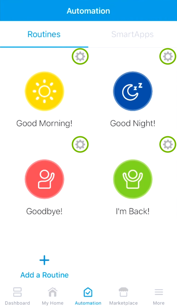 Gear wheels highlighted for default routines in SmartThings app.
