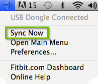 macOS menu bar highlighting the FitBit app icon having been extended with sync now selected.