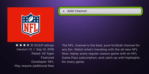 Add channel option highlighted for selected app in Streaming Channels store on Roku.