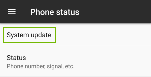 Status with System update highlighted.