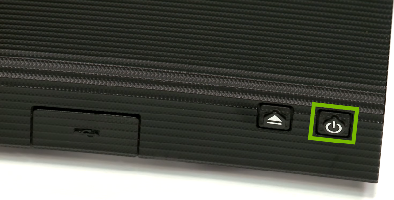 Front panel of Blu-ray player with highlighted button