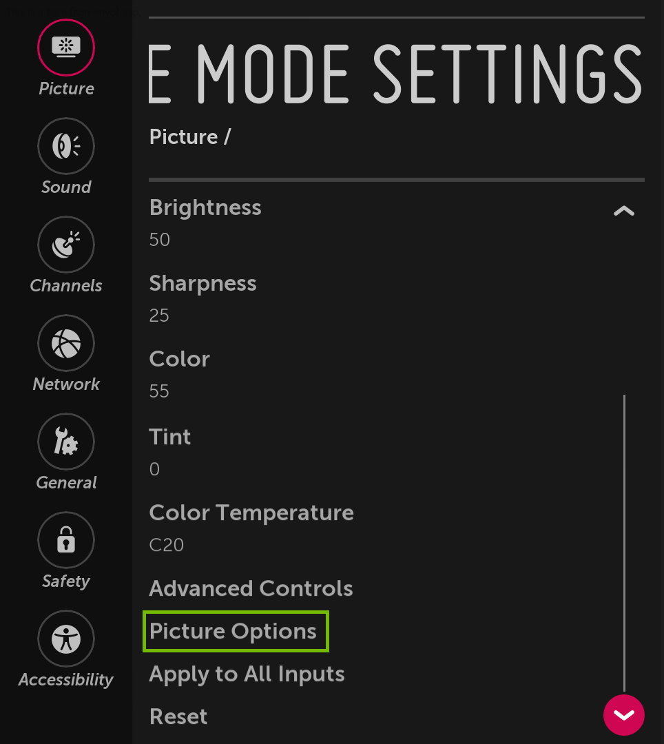 Picture Mode Settings menu with Picture Options highlighted.