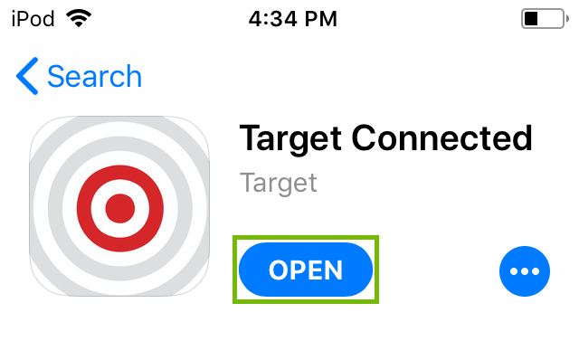 Target Connected App Store listing with Open highlighted.
