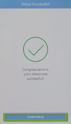 Ring device setup completion screen.