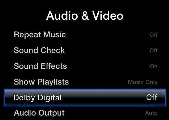 Apple TV Audio and Video menu, highlighting the Dolby Digital option.