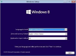 Windows 8 install screen