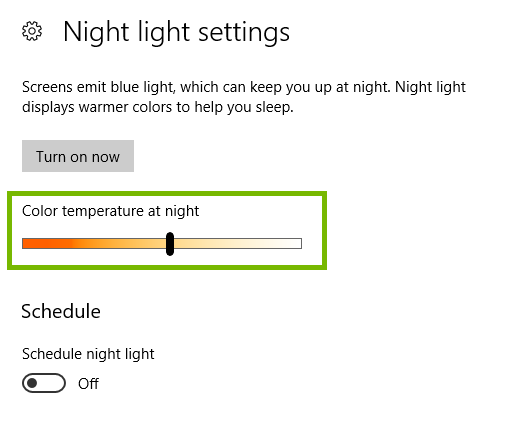 Night light settings with color temperature highlighted