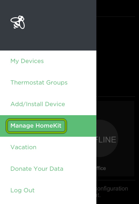 Manage HomeKit option highlighted in ecobee app menu.