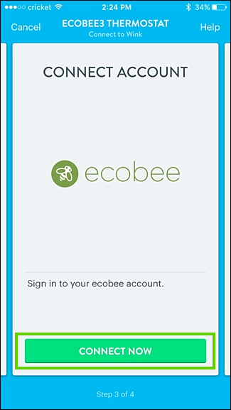 Wink asking for ecobee connection