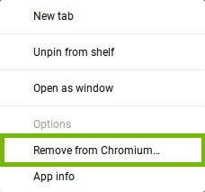 App menu with Remove from Chrome highlighted.