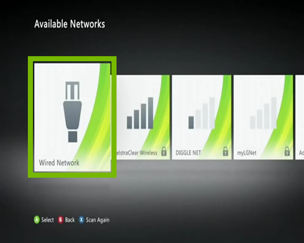 Available networks list with Wired Network selected. Screenshot.