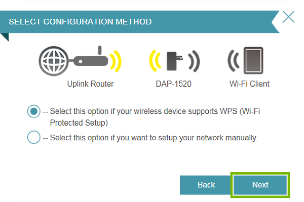 Next button highlighted in connection setup wizard.