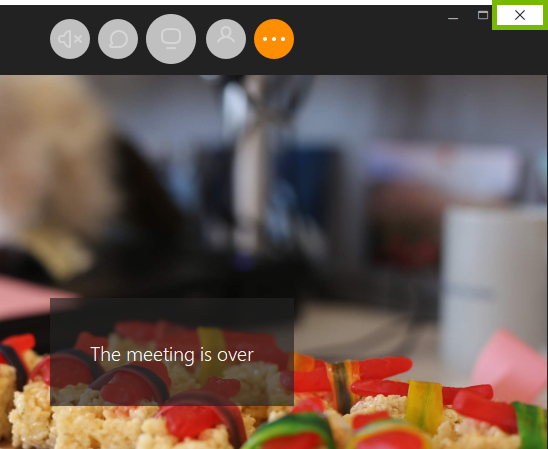 Close button highlighted in join.me meeting.