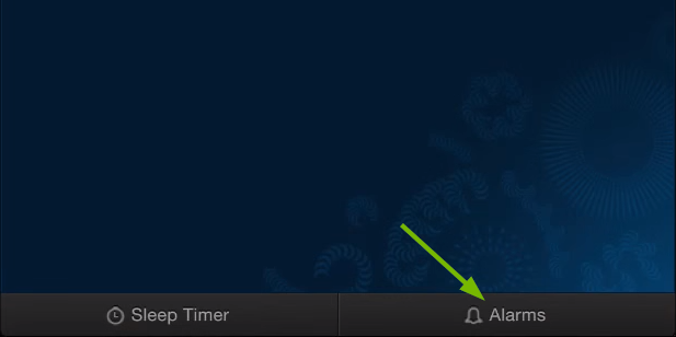 Placement of Alarms option in Sonos Controller for computers