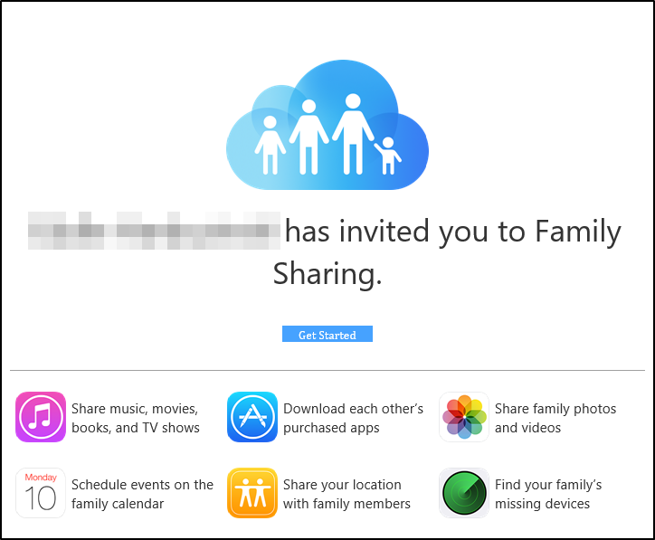 Family Sharing email invitation.