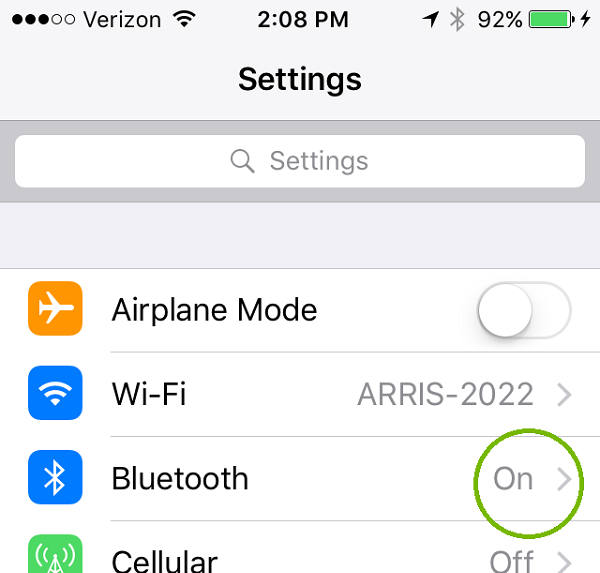 Settings menu with Bluetooth status highlighted. Screenshot