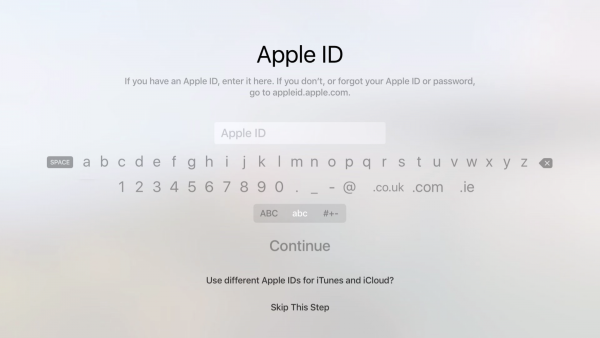 Apple ID sign in prompt during Apple TV setup.