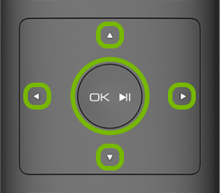 OK and directional buttons on VIZIO remote.