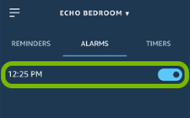 Alarm entry and toggle switch highlighted in Alexa app.