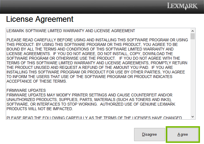 Lexmark printer software license agreement