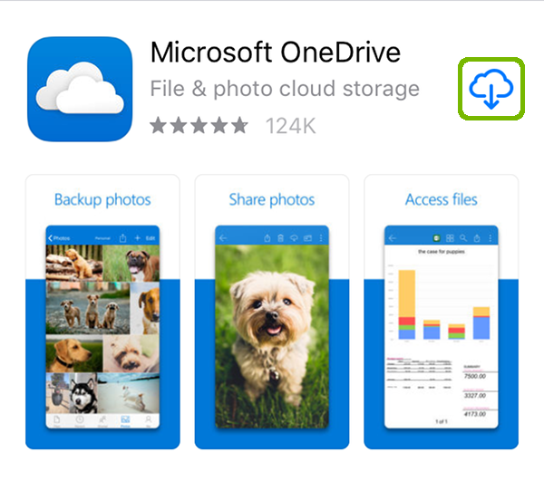 OneDrive app store page with Get highlighted.