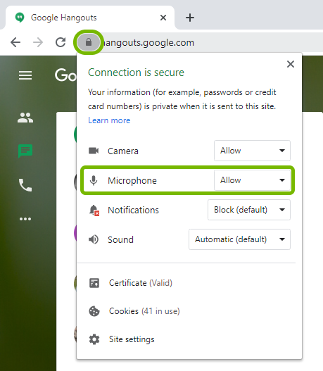 Microphone option highlighted in permissions list for loaded website in Google Chrome.