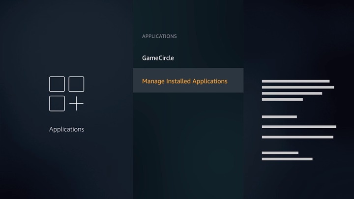 FireTV application settings screen with Manage Installed Applications option highlighted.