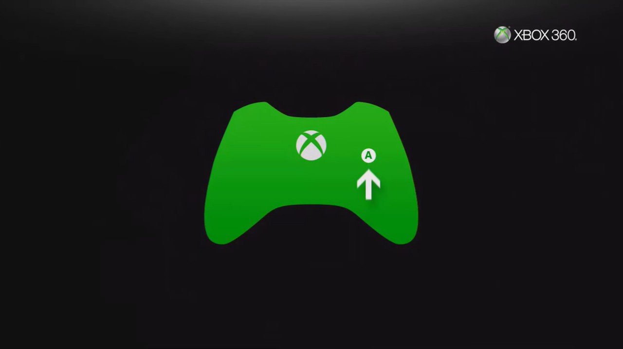 Xbox 360 initial setup screen depicting a controller.