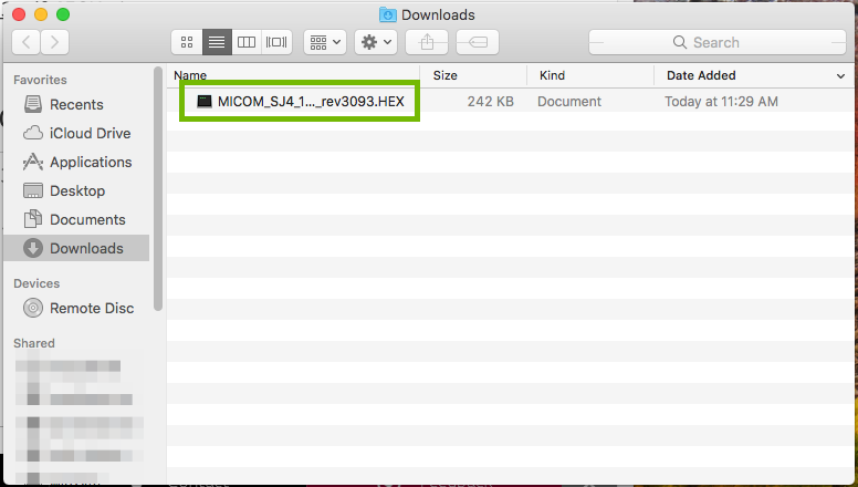 Finder with HEX file highlighted.