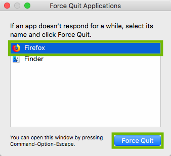 Force Quit with Firefox and Force Quit highlighted.