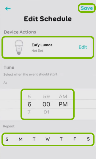 Actions selector, time and day selectors, and Save option highlighted in schedule settings for selected bulb in EufyHome app.