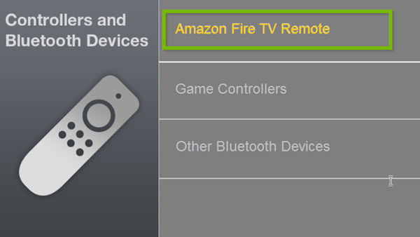 Controllers and Bluetooth Devices menu with Amazon Fire TV Remote selected. Screenshot.