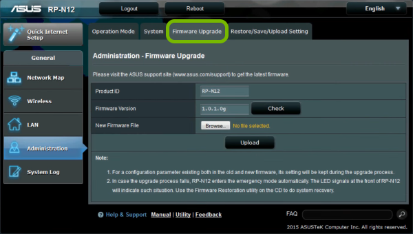 Firmware Upgrade tab highlighted in range extender's administration web interface.