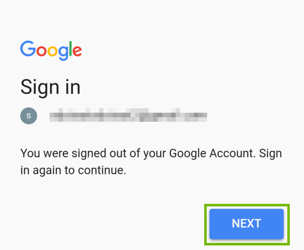 Google account Sign in welcome screen with Next highlighted.