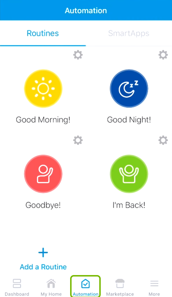 Automation tab highlighted in the SmartThings app.