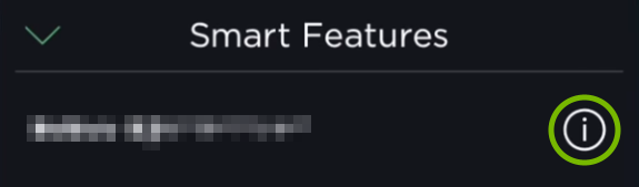 Info icon highlighted in Smart Features options of ecobee app.