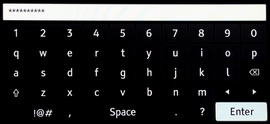 Wi-Fi key entry screen