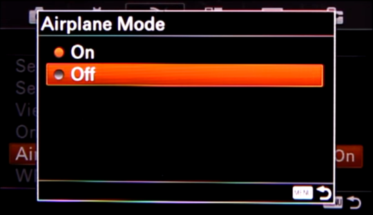 Camera screen with option highlighted