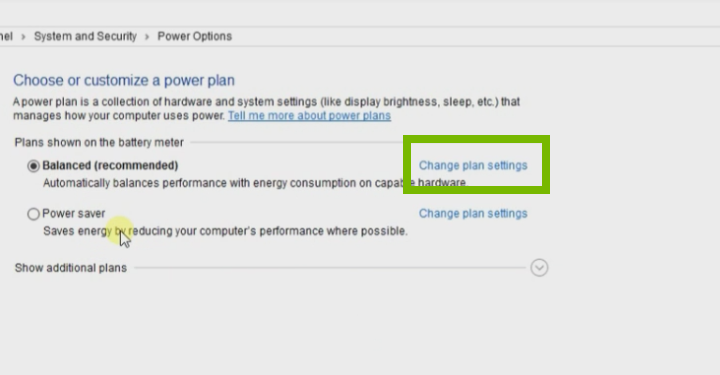 Windows 10 Settings with power options selected. Change plan settings is highlighted.