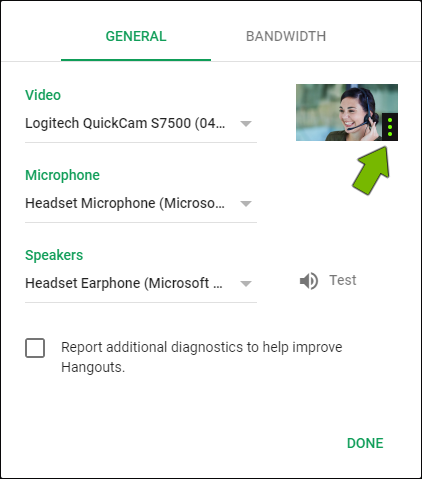 Volume bars pointed out for selected microphone in Google Hangouts settings.