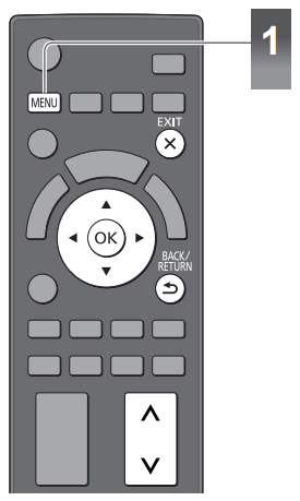 TV remote with Menu button highlighted. Illustration.